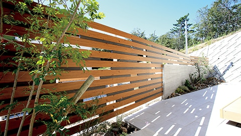 Aluminium Zaun in Holzoptik