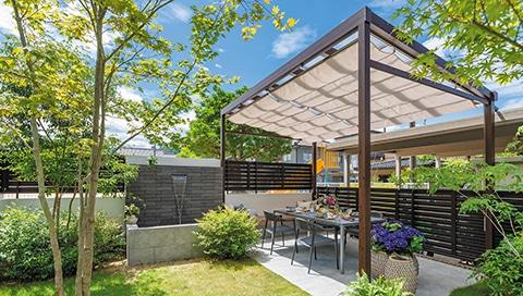 Garten mit Aluminium Sichtschutz